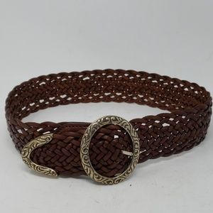 Brighton Vintage Brown Weaved Leather Belt Small